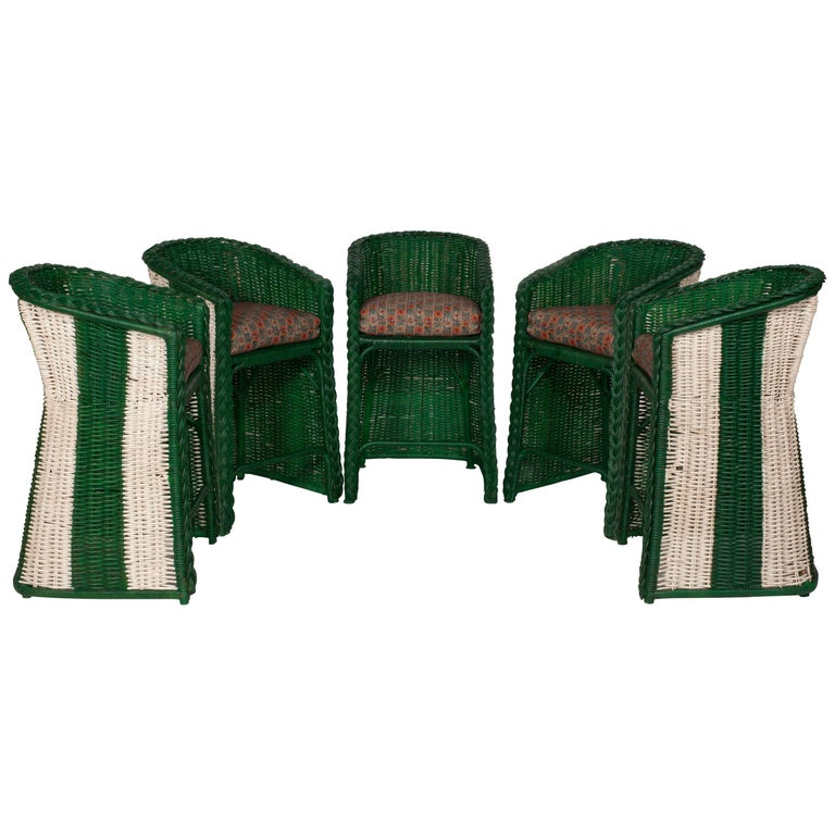 Vintage Wicker Striped Painted Green and White Bar Stools with Seat Cushions