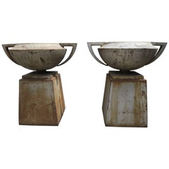 Pair of 19th Century Cast Iron French Planters with Bases