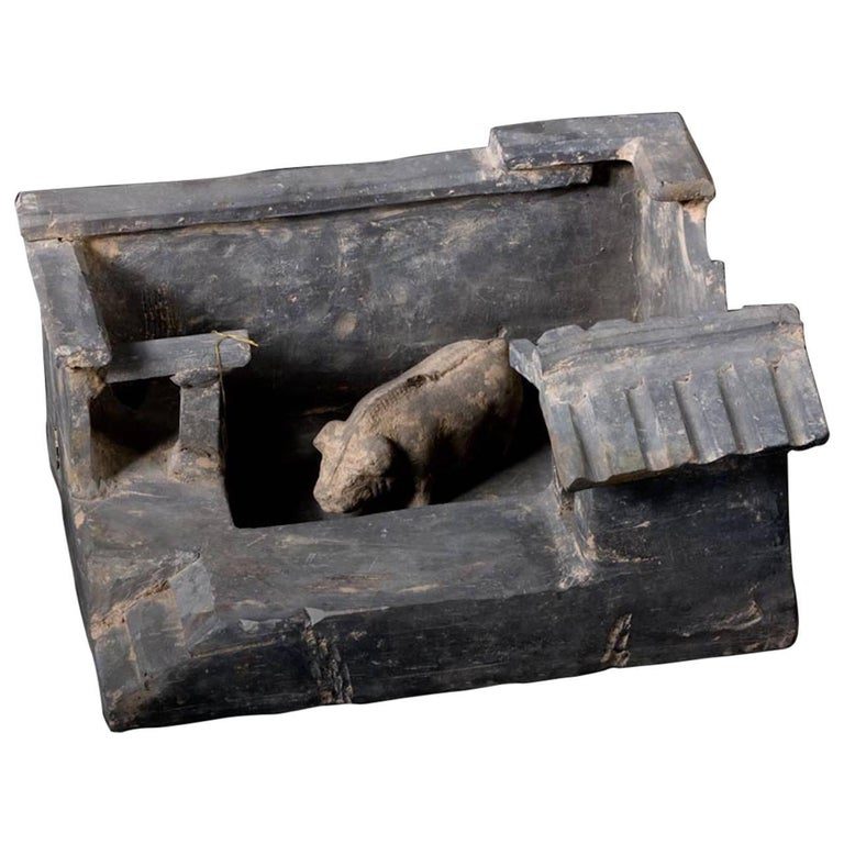 Han Dynasty Terracotta Model of Farm Stead with Pig, China '206BC - 220AD'