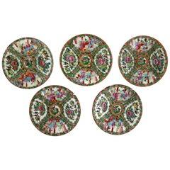 Antique Chinese Qing Rose Medallion Porcelain Plates Set of Five