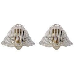 "Pair of Seguso Murano Glass ""Conchiglia"" Shell Wall Sconces"