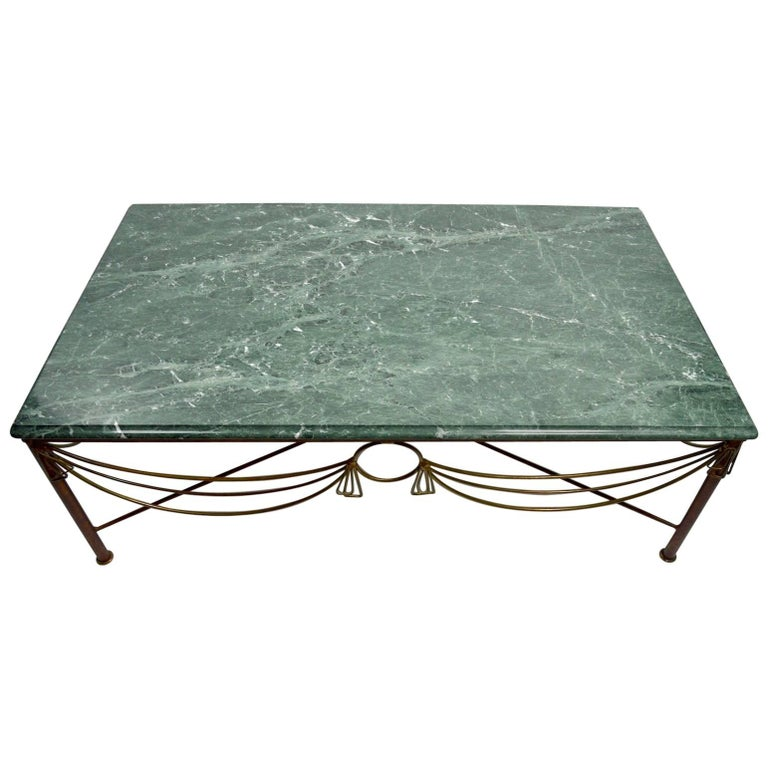 Marble Brass and Steel Coffee Table after Ilana Goor For Sale