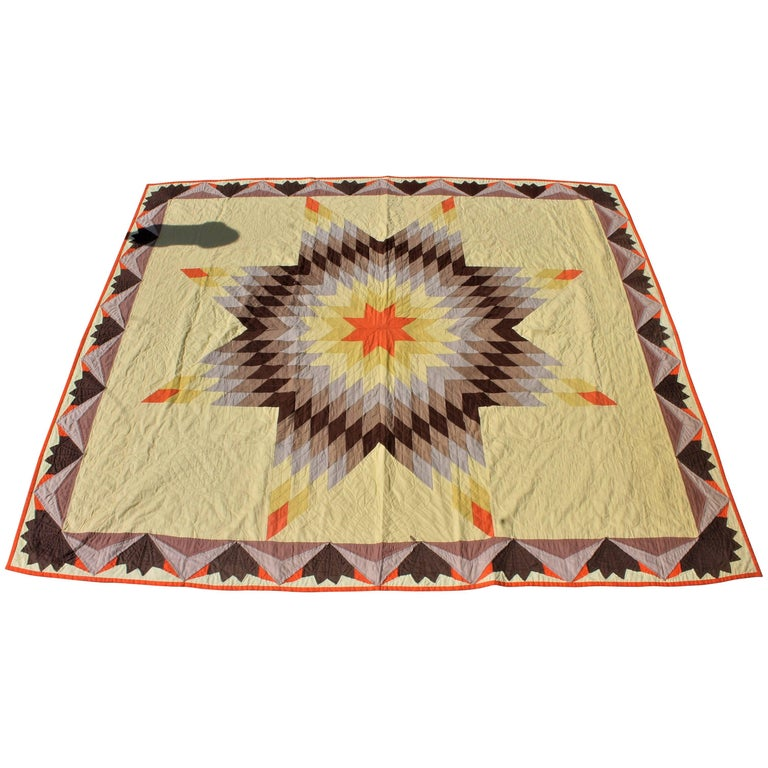 20th Century Western Eight Point Star Quilt For Sale