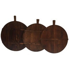 Set of Three Large Primitive Round Pine Cutting Boards with Handle