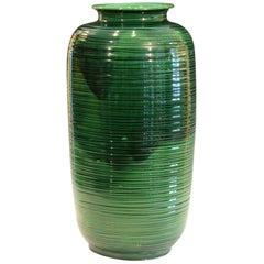 Large Green Awaji Hand Turned Japanese Pottery Ribbed Tea Jar Form Ikebana Vase