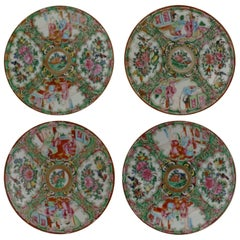 Antique Chinese Rose Medallion Porcelain Plates Set of Four