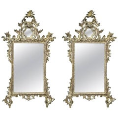 Pair of Italian Late 18th Century Rococo Giltwood Mirrors