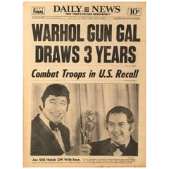 """Warhol Gun Gal Draws 3 Years!"" Warhol Newspaper"