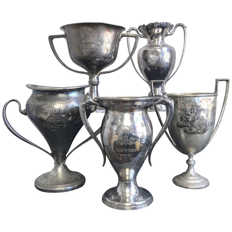 Group of Five Early 1900s California Bay Area Silverplate Cycling Trophies For Sale