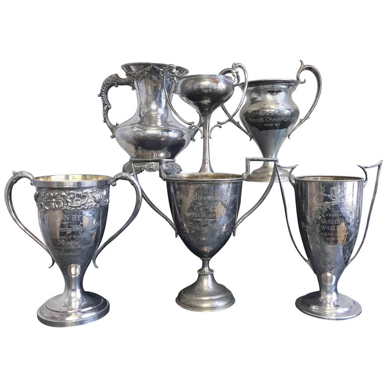 Group of Six Early 1900s California Bay Area Silverplate Cycling Trophies For Sale