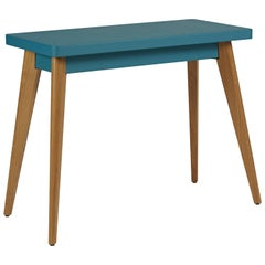 55 Console Table in Glossy Teal with Wood Legs by Jean Pauchard & Tolix