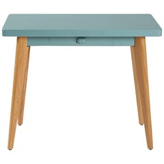 55 Console Table in Matte Sage Green with Wood Legs by Jean Pauchard & Tolix