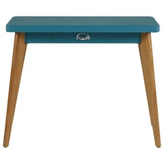 55 Console Table in Matte Teal with Wood Legs by Jean Pauchard & Tolix