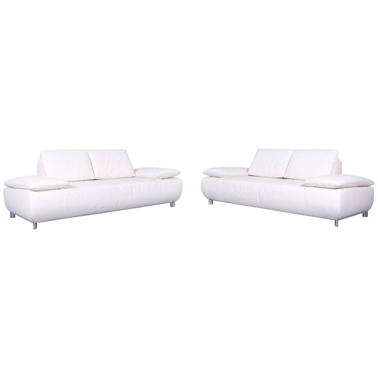Koinor Volare Leather Sofa Set Off-White Three-Seat Couch