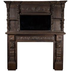 Victorian Carved Solid Oak Gothic Revival Fireplace Surround with Mirror