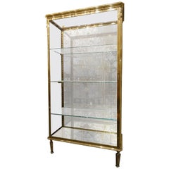 Parisian 1900s Muller R&P Domange Brass Vitrine Display Unit
