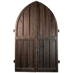 Large Pair of 19th Century Pine Gothic Church Double Doors