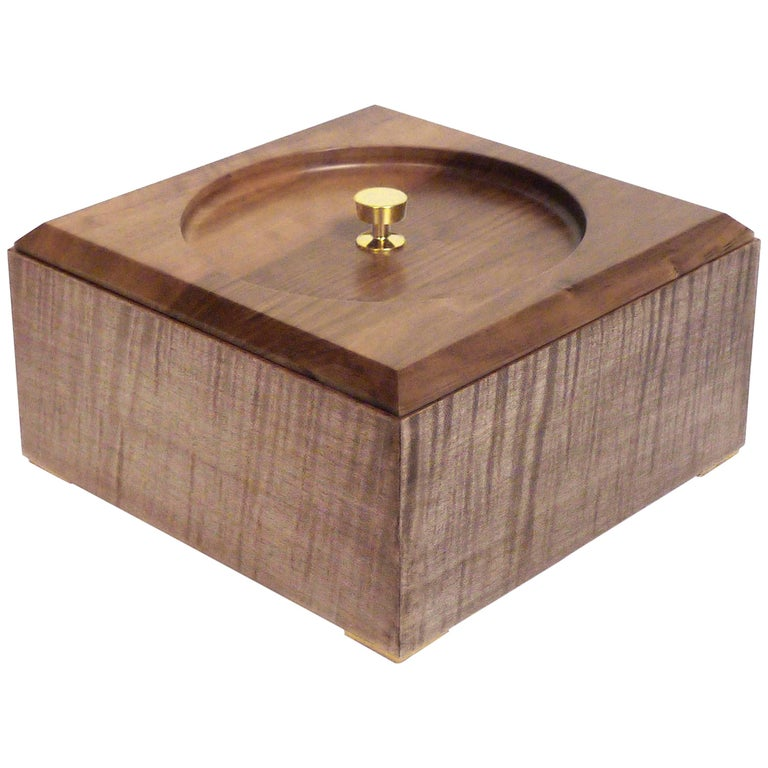 Contemporary Sycamore and Brass Modern Minimalist Wood Box
