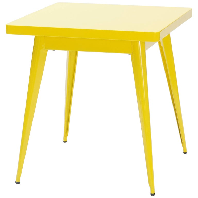 55 Square Side Table in Yellow by Jean Pauchard & Tolix
