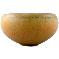 Saxbo, Stoneware Bowl in Modern Design, Glaze in Yellow Shades