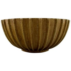 Arne Bang, Stoneware Bowl with Fluted Corpus