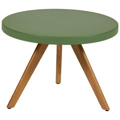 K17 Low Round Table 60 in Rosemary Green with Wood Legs by Tolix