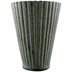 Arne Bang, Pottery Vase in Ribbed Style