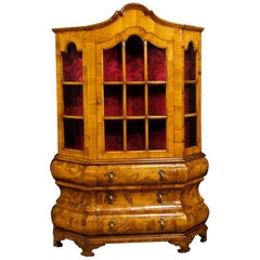 Dutch Vitrine in Walnut, Burl Walnut, Maple Wood from 20th Century