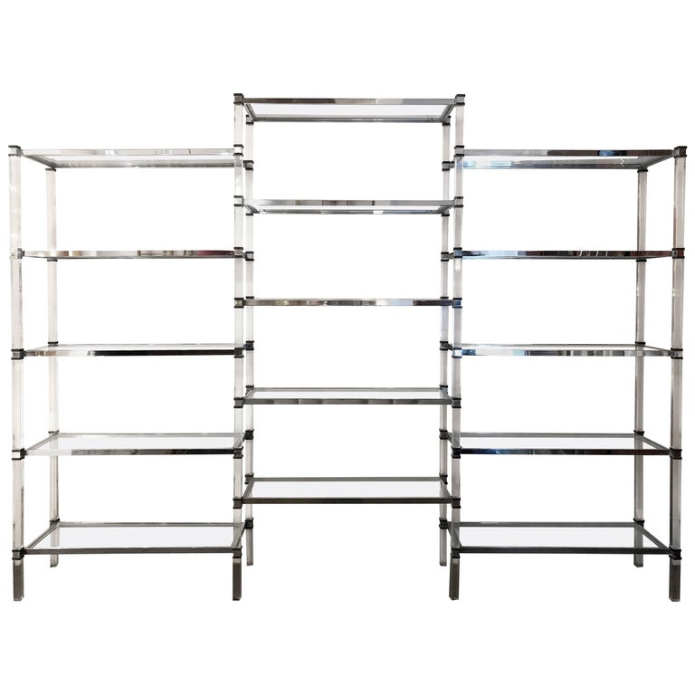 Monumental Lucite, Glass, Brass and Chrome Shelving by Romeo Rega, Italy, 1970s