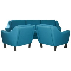 Turquoise Sofa and Armchairs