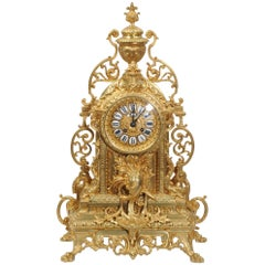 Large Antique Gilt Bronze Clock
