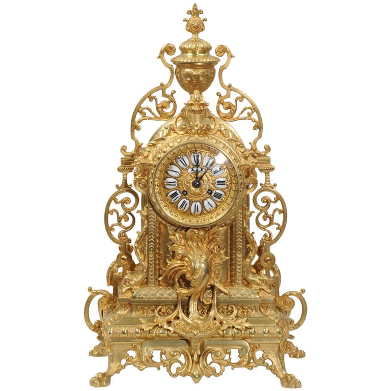 Large Antique Gilt Bronze Clock
