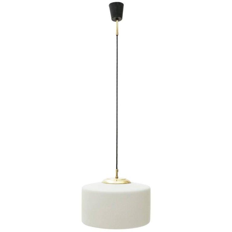 Italian Opaline Glass and Brass Pendant Lamp, 1950s
