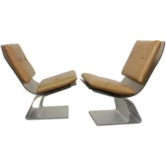 Maison Jansen Pair of Glass and Steel Easy Chairs