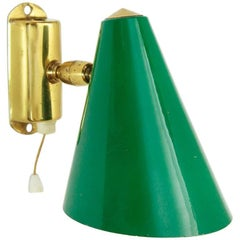 Italian Green Aluminium and Brass Wall Lamp, 1950s