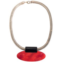 Original Art Deco Necklace by Jakob Bengel in Chrome with Red and Black Galalith