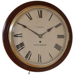 Early Victorian Wall Clock Garret, Peterboro
