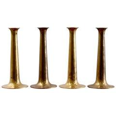 Midcentury Brass Candlesticks by Hans Bolling for Torben Ørskov, Set of Four