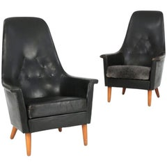 Leather and Beech Armchairs