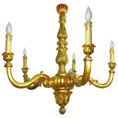 Large Neoclassic Wood Carved Gold Leaf Baroque Giltwood Five-Arm Chandelier