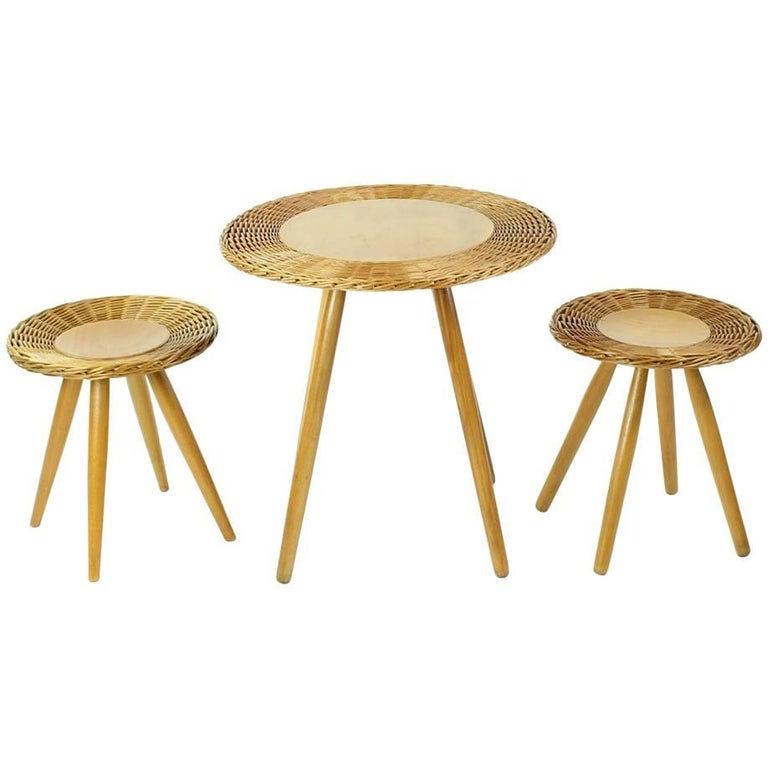 Rattan Coffee Table with Two Stools by ÚĽUV, Czechoslovakia, 1960s