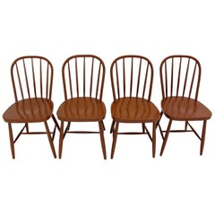 Brown Beechwood Windsor Chairs by Josef Frank, circa 1930, Vienna Set of Four