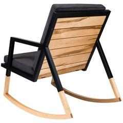Gabriella Rocking Chair by Ambrozia, Maple, Black Steel & Dark Gray Upholstery