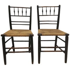 Phillip Webb for William Morris, An Original Pair of Sussex Ebonised Side Chairs