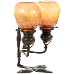 Tiffany Studios Bronze and Favrile Galss Two-Light Fleur-de-Lis Table Lamp
