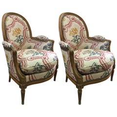 19th Century Pair of Antique French Armchairs in Louis XVI Style