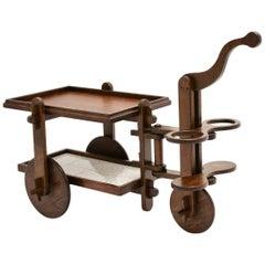Mid Century Modern Oak Bar Cart France, 1950s