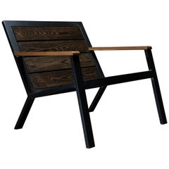 Stratford Modern Lounge Chair by Ambrozia, Aged Ashwood and Hand Blackened Steel