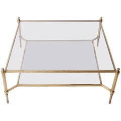 Large Glass and Brass Coffee Table