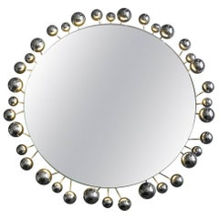 Large illuminated 1960s Space Age chrome wall mirror by Cosack